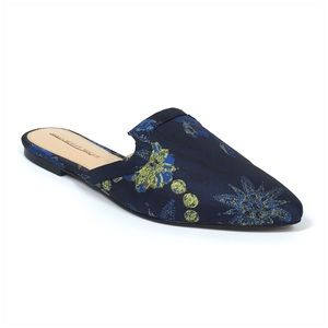 Blue Honor Brocade Flat Mules - Who What Wear Sz 6
